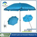 140gポリエステルが付いている傘はUV30+の鋼鉄まっすぐなビーチパラソルを肋骨で補強する