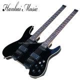Música de Hanhai/guitarra elétrica garganta dobro do preto sem Headstock