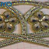 las mujeres de cuero de la PU de la sandalia superior con piedra de cristal y diamantes de imitación