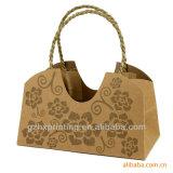 ペーパーによってねじられるハンドルが付いている個人化されたクラフト包装紙のショッピング・バッグ