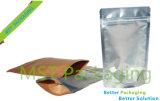 Freie vordere Silber-Rückseiten-Plastiktasche/Plastikpapierbeutel/Fastfood- Beutel mit Reißverschluss