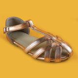 여자 브라운 Ankel 결박 숙녀를 위한 낮은 발뒤꿈치 평지 단화 샌들
