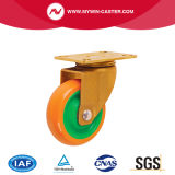 3 Zoll-Verlegenheits-Platten-Grün-Kern-Gelb PU-industrielle Fußrolle