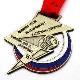 締縄のリボンとの安いカスタム大きい青銅色のスポーツのロシアメダル円形浮彫りカラー