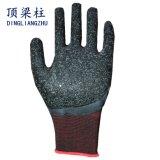 しわ3/4の乳液が付いている13Gポリエステル安全作業手袋は塗った