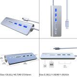 Tipo-c 3 USB3.0 tipo portuário cubo Microsd do USB de C & tipo leitor do SD de cartão de C