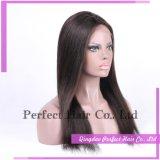 Sin cola de cabello humano frente pelucas llenas del cordón de seda