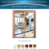 Neues Entwurfs-dekoratives doppelte Schicht-Glaspanel-Innenaluminium-hängende Schiebetür
