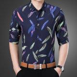 아래로 최신 판매 형식 기털 도표 긴 소매 우연한 니트 단추 폴로 셔츠