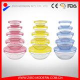 5 PCSの多彩なふたセットが付いているスタック可能明確な円形のガラスサラダボール