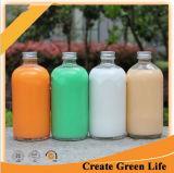 16oz frasco de vidro bebendo redondo, frio - frasco pressionado do suco com tampão de alumínio