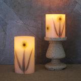 Пакет 2 свечек штендера воска картины цветка эксплуатируемых батареей непламенных СИД