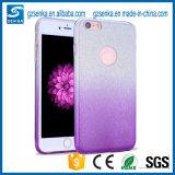3 en 1 caja transparente del teléfono del color del gradiente del papel del polvo del flash del brillo de la PC de TPU para el iPhone 7/7plus
