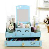 Casella cosmetica da tavolino di legno di alta qualità DIY, casella di memoria da tavolino ecologica