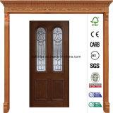 36 en X 80 en la puerta de cristal de madera sólida de la antigüedad de la pátina del arco biselado preacabado del gemelo