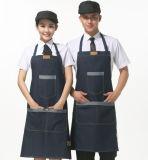 Denim Jean Kitchen Delantal con Pieza de Cuero para Bar Taff