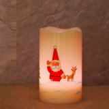 Supporto di candela di stampa LED della mano con gli alberi, candela di natale LED