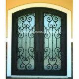Porta de entrada dobro feita superior quadrada simples com vidro geado
