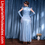 Princesse bleue classique Costume de Ballgown de satin avec le recouvrement de Tulle Peplum