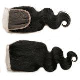 pelo brasileño de la Virgen del visión 8A con el encierro productos de pelo brasileños del encierro del cordón de la onda de la carrocería del pelo humano de 3 manojos con el encierro