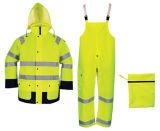Rivestimento giallo verde del cappotto del vestito della pioggia di sicurezza del motociclo di Packable