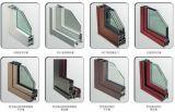 Puerta de aluminio del marco de la rotura termal de madera roja del color con el medio medio panel de cristal (ACD-018)