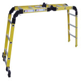 (375LBS) 35kv escada de dobradura amarela da fibra de vidro 4-Section