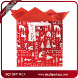 Christmas Tree Kraft Christmas Bag with Hang Tag and Stamping