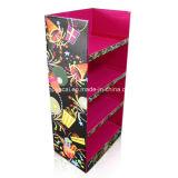 Étalage d'étage de carton, présentoirs ondulés avec l'étalage de carton de 4 étagères