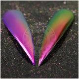 El arte mágico del clavo del cromo del efecto de la rotación del color del camaleón pigmenta el polvo