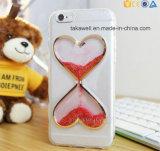 Tipo caja líquida del corazón del brillo de la alta calidad 3D TPU del teléfono de la arena para el caso de la cubierta de la arena movediza 6 del iPhone 5