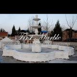 Grande fontaine en pierre de marbre blanche de Carrare pour les meubles Mf-1044 de jardin