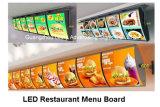 Panneau à chaînes de menu du restaurant DEL