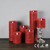 Bougie sans flammes rouge élégante du pilier DEL de cire de vente d'usine