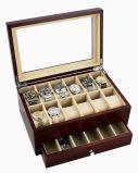 Étalage de montre de fini à haute brillance antique de Brown/boîte-cadeau en bois emballage de ramassage avec le guichet