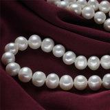 11mm Patata AA Grado Blanco 925silver enorme collar de perlas