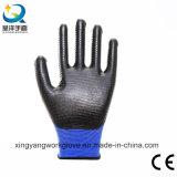 Les nitriles ont enduit les gants protecteurs de travail de travail de Zèbre-Piste (N003)