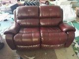 Sofa de Recliner de couleur de vin rouge, sofa de cuir véritable de salle de séjour (Y995)
