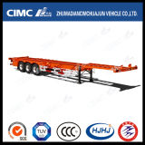de 45FT do Gooseneck 3axle do recipiente reboque de esqueleto Semi com único pneu
