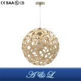 Lâmpada de madeira modelo do pendente do estilo da esfera do desenhador