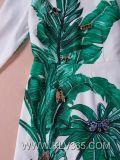 秋の冬の綿の方法女性の長い袖によって印刷される普段着