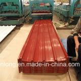 Feuille en acier ondulée galvanisée enduite d'une première couche de peinture de toiture