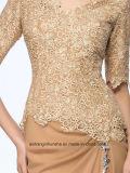Frauen-Chiffon- Fleck-Rückseiten-Reißverschluss-Abend-Kleid-Abschlussball-Kleid