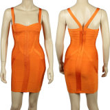 Robes de mariage oranges de bandage de tube de glissade