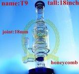 El vidrio de cristal del cenicero del arte del tabaco de la corona T6 del reciclador del tazón de fuente alto de cristal del color transmite el tubo de agua de cristal del reciclador de la burbuja embriagadora del cubilete