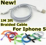 Kleurrijke Nylon Fabric Braided USB Cable voor iPhone5