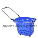 Panier en plastique de supermarché de vente chaude avec des roues