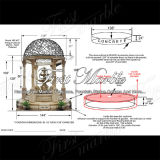 Fontaine antique de Gazebo de travertin pour le métier Mf-427
