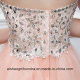 Vestido coral do baile de finalistas de Tulle da cor Strapless curta frisada do vestido