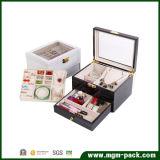 Joyería de madera cosméticos caja de almacenamiento con espejo